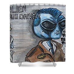Alien Taxi Driver Shower Curtain