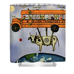 Alien Transport System Shower Curtain by Leah Saulnier The Painting Maniac