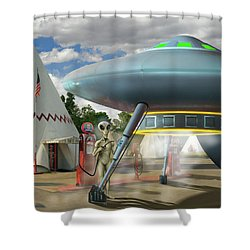 Alien Vacation - Gasoline Stop Shower Curtain by Mike McGlothlen