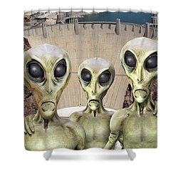 Alien Vacation - Hoover Dam Shower Curtain by Mike McGlothlen