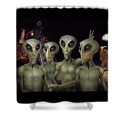 Alien Vacation - Kennedy Space Center Shower Curtain by Mike McGlothlen