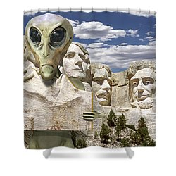 Alien Vacation - Mount Rushmore Shower Curtain by Mike McGlothlen