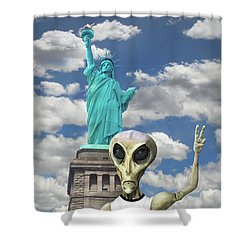 Alien Vacation - New York City Shower Curtain by Mike McGlothlen