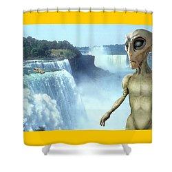 Alien Vacation - Niagara Falls Shower Curtain by Mike McGlothlen