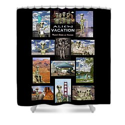 Alien Vacation - Poster Shower Curtain by Mike McGlothlen