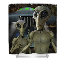Alien Vacation - The Arrival  Shower Curtain by Mike McGlothlen