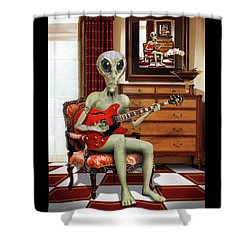 Alien Vacation - We Roll With Jazz Shower Curtain by Mike McGlothlen