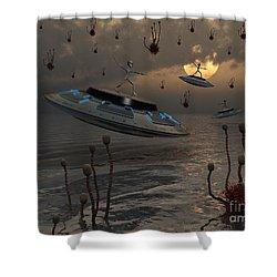 Aliens Celebrate Their Annual Harvest Shower Curtain by Mark Stevenson