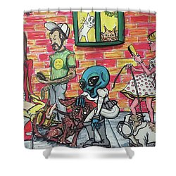 Aliens Love Dogs Shower Curtain