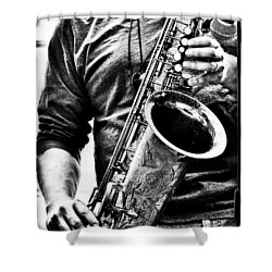 All Blues Man With Jazz On The Side Shower Curtain