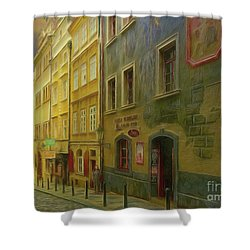 All Downhill From Here - Prague Street Scene Shower Curtain
