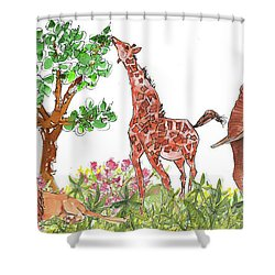 All Is Well In The Jungle Shower Curtain by Kathleen McElwaine