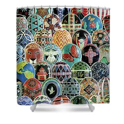 All Ostrich Eggs Collage Shower Curtain