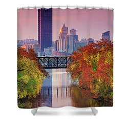 All Pittsburgh Pink  Shower Curtain