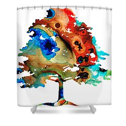All Seasons Tree 3 - Colorful Landscape Print Shower Curtain by Sharon Cummings