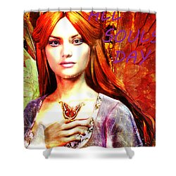 Shower Curtain featuring the painting All Souls Day Angel by Suzanne Silvir