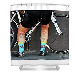 Shower Curtain featuring the photograph All Star Cyclist by Joe Jake Pratt