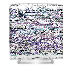 All The Presidents Signatures Blue Rose Shower Curtain by Tony Rubino