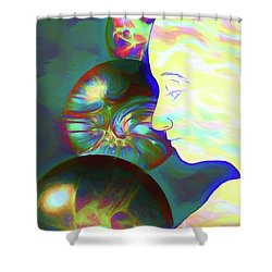 Shower Curtain featuring the digital art All These Worlds Are Yours by John Haldane