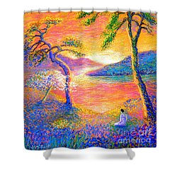 Buddha Meditation, All Things Bright And Beautiful Shower Curtain by Jane Small