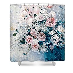 Shower Curtain featuring the painting All White by Sorin Apostolescu