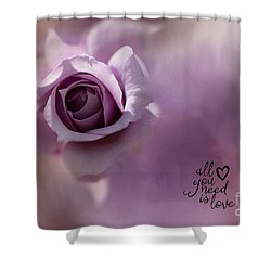 All You Need Is Love Shower Curtain by Eva Lechner