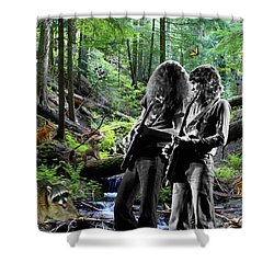 Shower Curtain featuring the photograph Allen And Steve Jam With Friends On Mt. Spokane by Ben Upham