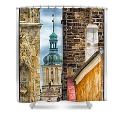 Shower Curtain featuring the photograph Alley In Prague Old Town by Janis Knight