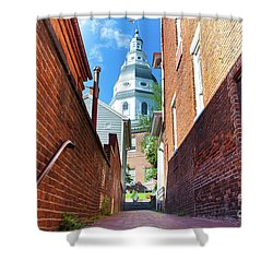 Alley View Of Maryland State House  Shower Curtain