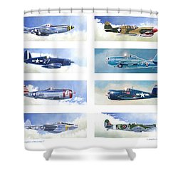 Allied Fighters Of The Second World War Shower Curtain by Douglas Castleman