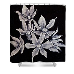 Shower Curtain featuring the painting Allium Moly by Kym Nicolas