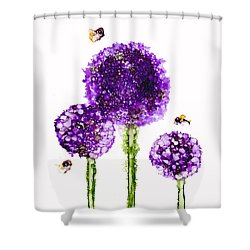 Alliums Humming Shower Curtain