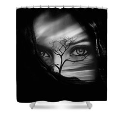 Allure Of Arabia Black Shower Curtain by ISAW Gallery