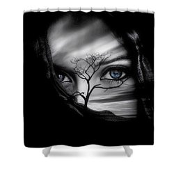 Allure Of Arabia Blue Shower Curtain by ISAW Gallery