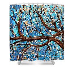 Shower Curtain featuring the mixed media Almond Blossoms by Natalie Briney