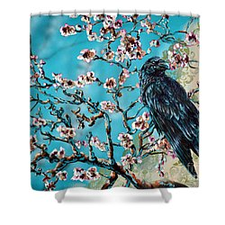 Almond Branch And Raven Shower Curtain