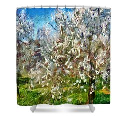 Almond Orchard Blossom Shower Curtain