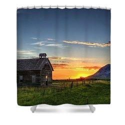Almost Sunrise Shower Curtain by Fiskr Larsen