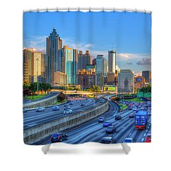 Shower Curtain featuring the photograph Almost Sunset Atlanta Downtown Cityscape Art by Reid Callaway