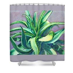 Aloe Vera Watercolor Shower Curtain