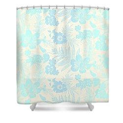 Aloha Damask Cream Aqua Shower Curtain