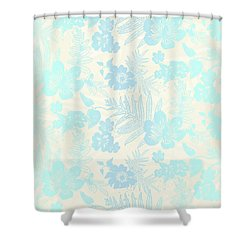 Aloha Damask Cream Aqua Shower Curtain
