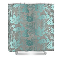 Aloha Damask Taupe Aqua Shower Curtain