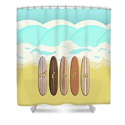Aloha Surf Wave Beach Shower Curtain