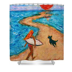 Shower Curtain featuring the painting Aloha Surfer by Xueling Zou