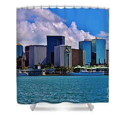 Aloha Tower Downtown Shower Curtain by Craig Wood