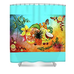 Shower Curtain featuring the digital art Aloha Tropical Fruits By Kaye Menner by Kaye Menner