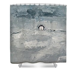 Shower Curtain featuring the painting Alone by Becky Kim