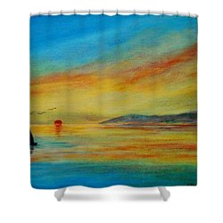 Alone In Winter Sunset Shower Curtain