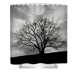 Alone On A Hill In Black And White Shower Curtain